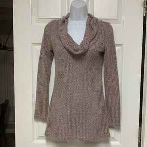 Mauve Cowl-Neck Sweater.